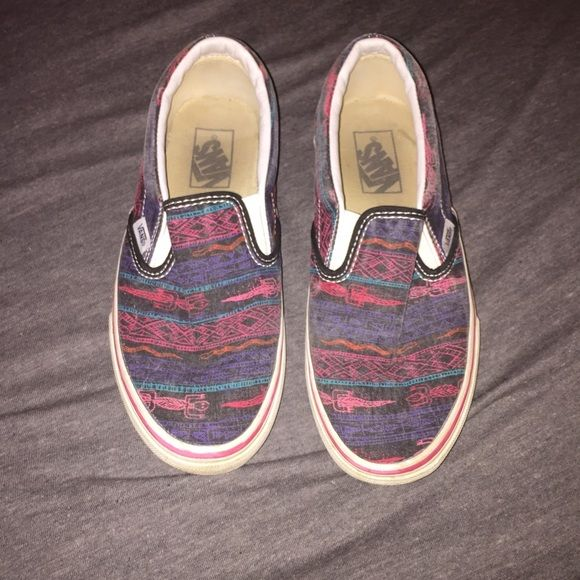 Colorful Vans Colorful slip-on Vans with lizards on them. Good condition. Super cute and great for the summer!! Vans Shoes