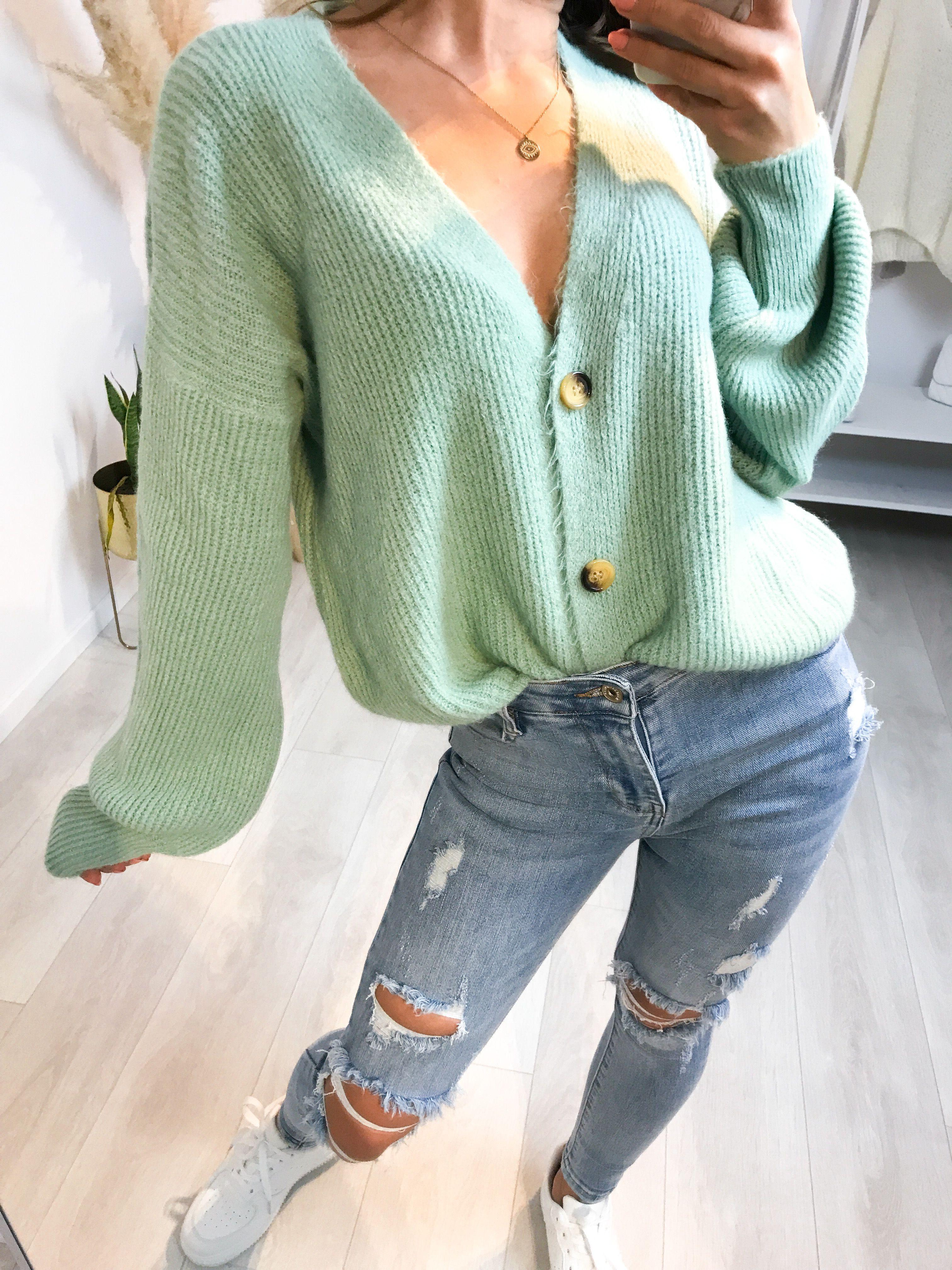 Damen V-Ausschnitt Knöpfe Strickjacke Pullover Pulli Outwear Blusen Jacke Mantel