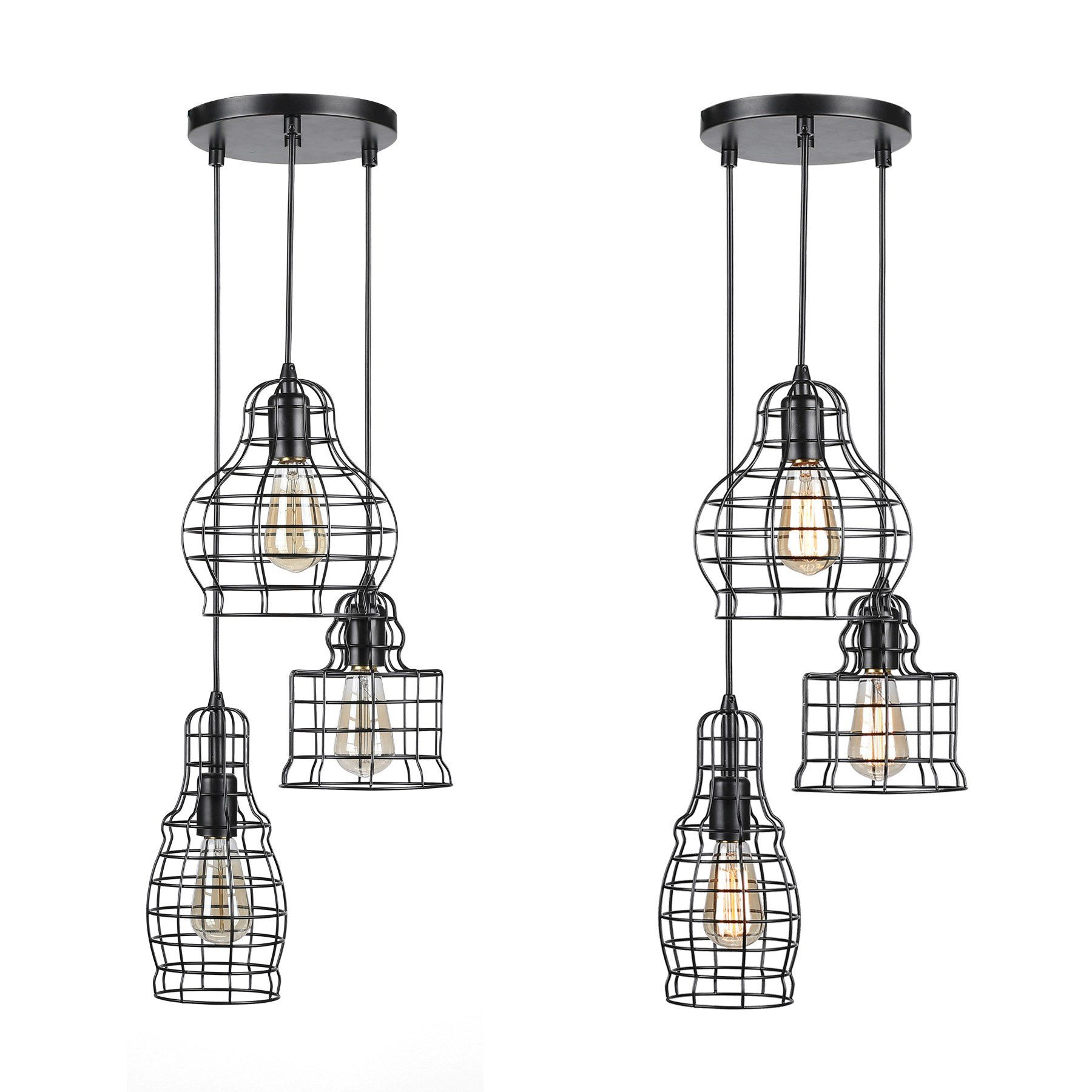 Coz 3light Wire Cage Cluster Pendant Chandelier In Antique Bronze Finish 3 Metal Squirrel Cages Hangin Ceiling Lights Pendant Chandelier Ceiling Light Fixtures