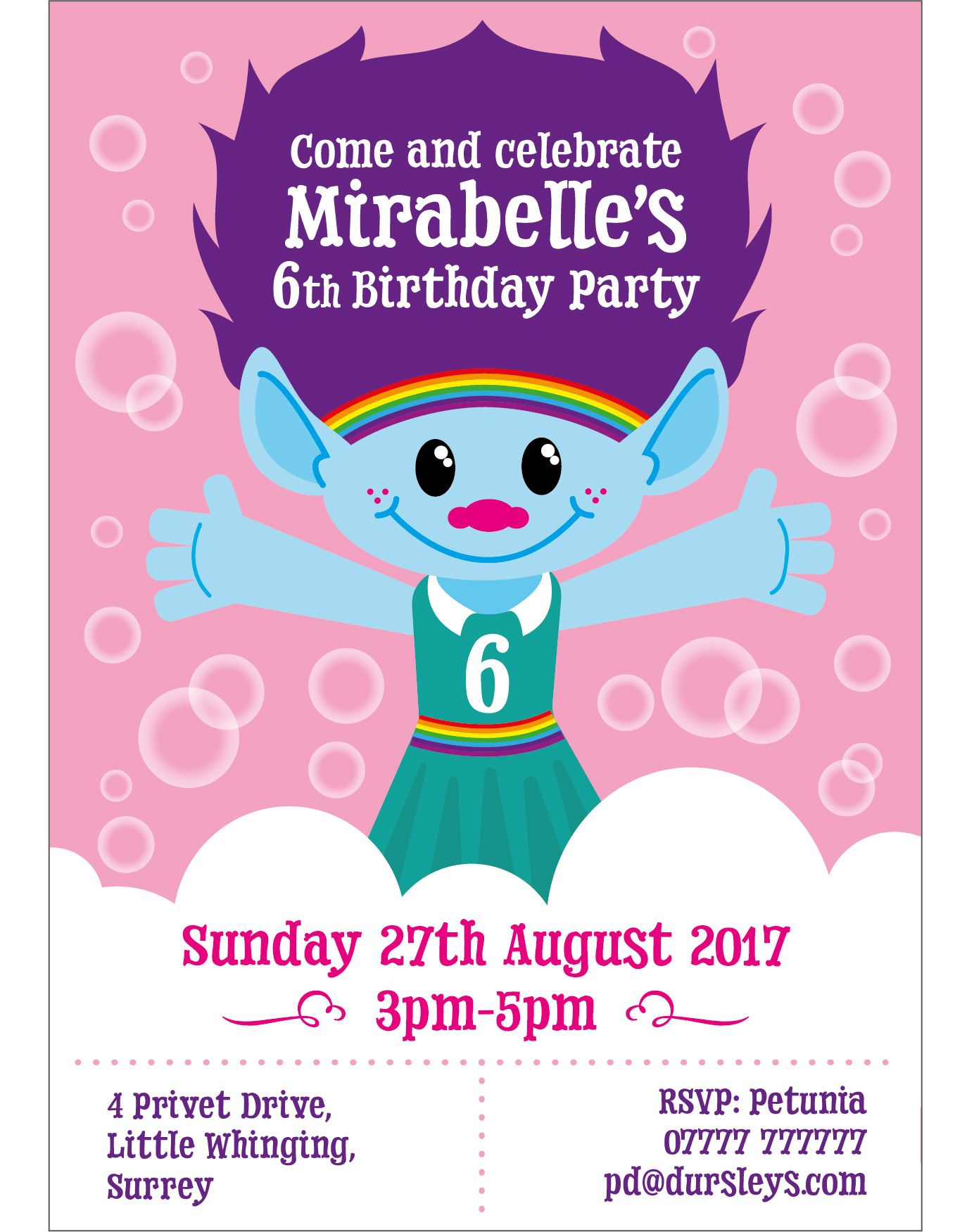 Kids Troll Birthday Party Invite Personal Work Pinterest - Children's birthday parties tunbridge wells