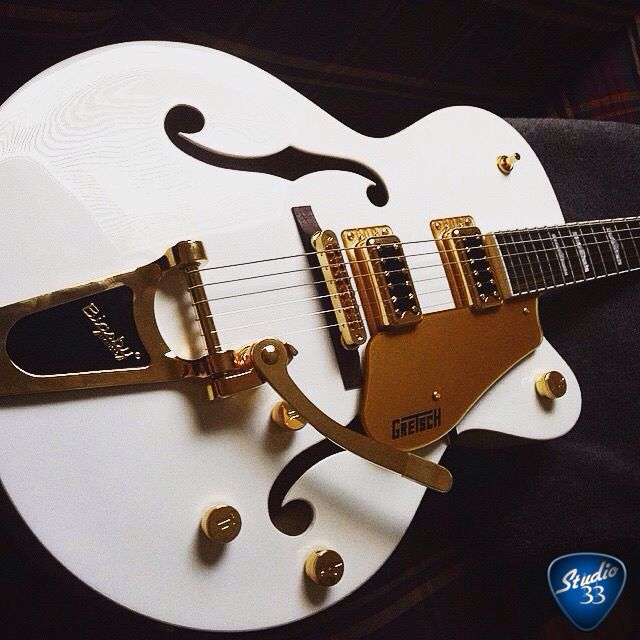 Happy White Falcon Friday! This one is from @ricardooliveiragtr #whitefalcon #gretsch Learn to play guitar online at www.studio33guitarlessons.com