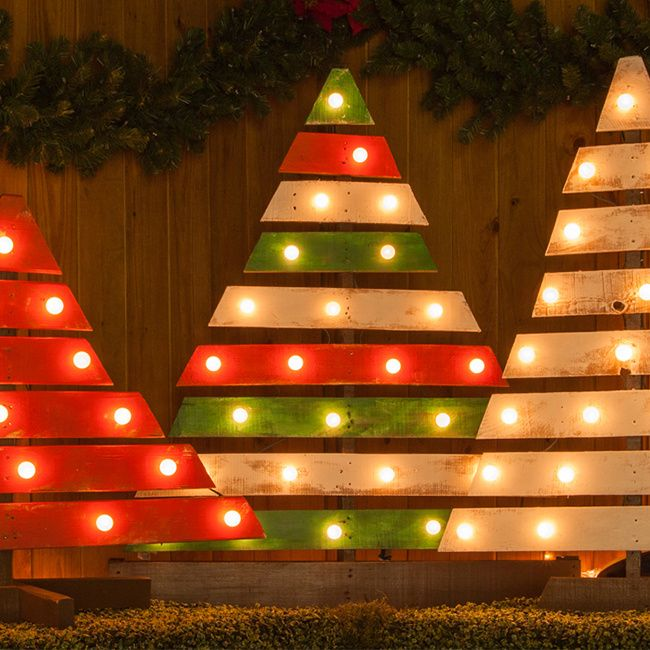 Diy Christmas Trees With Marquee Lights Wood Diy