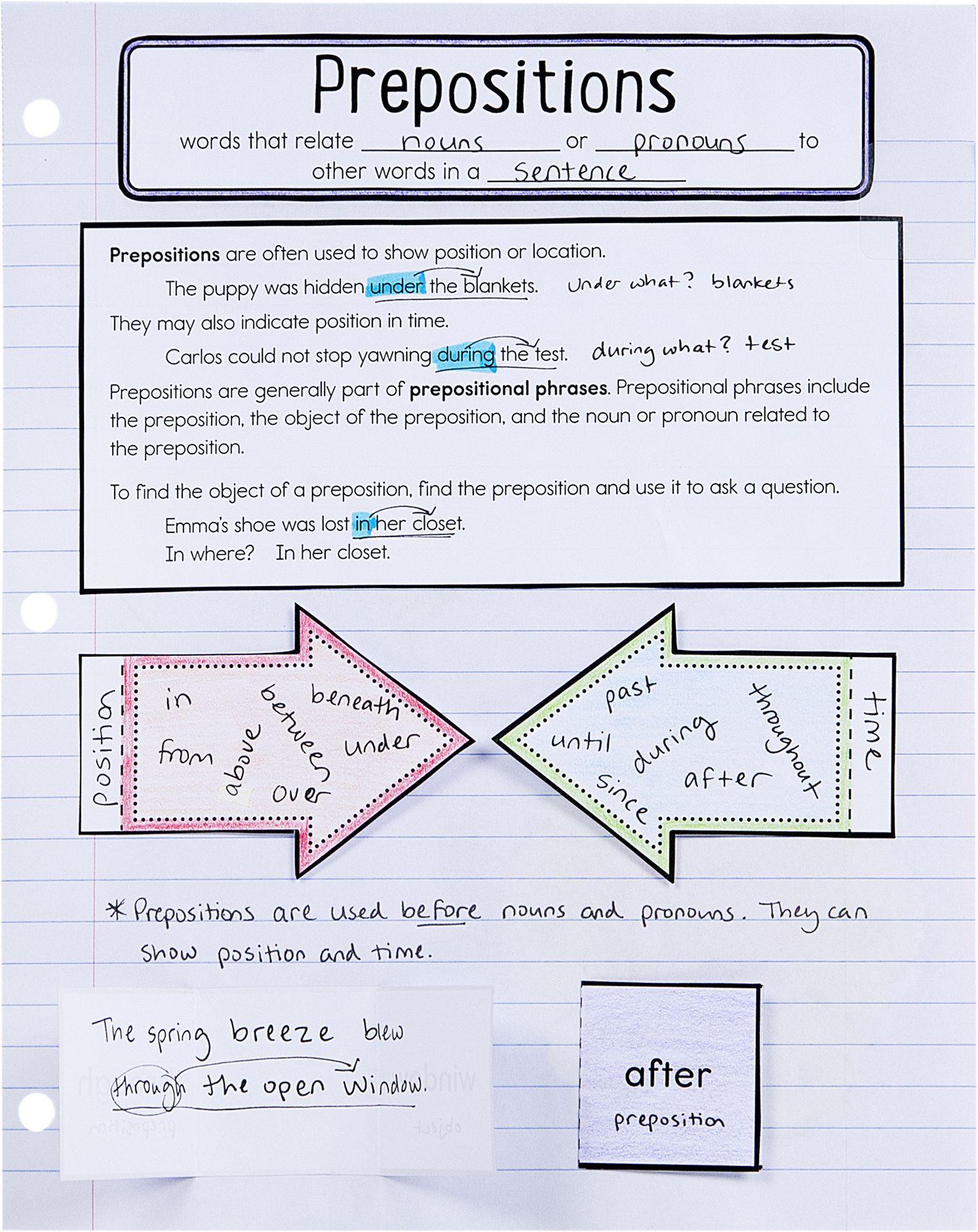 medium resolution of Preposition practice for Interactive Notebooks   Interactive notebooks