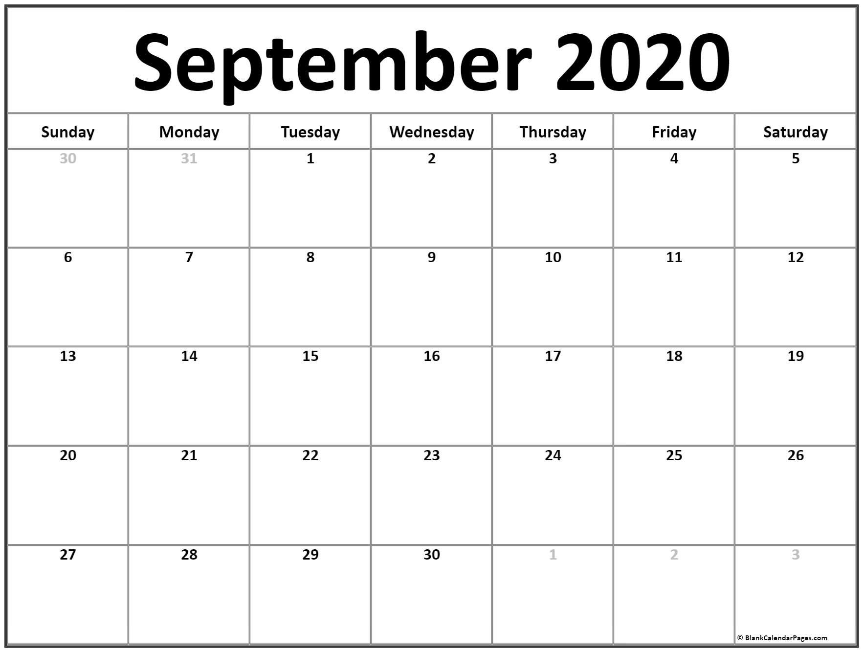 September 2020 Calendar Printable Template With Holidays Monthly