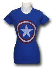 Captain America Juniors Distressed Shield Royal T-Shirt