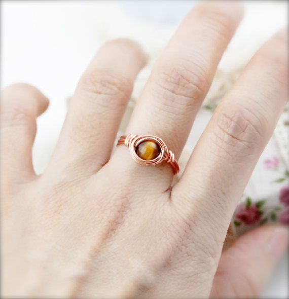 Wealth and Courage  tiger eye wrapped ring SR by sophinegiam, $6.00