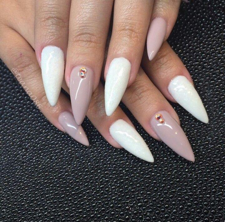 Teana Nails | White & Light Brown Stiletto Acrylic Nails w ...
