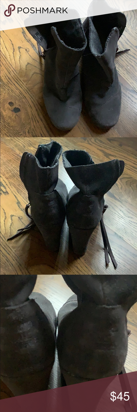 Toms wedge booties Toms wedge booties in dark gray, size 7.5. They are in very good condition. Side zippers are fully functioning. Toms Shoes Ankle Boots & Booties #tomwedges Toms wedge booties Toms wedge booties in dark gray, size 7.5. They are in very good condition. Side zippers are fully functioning. Toms Shoes Ankle Boots & Booties #tomwedges