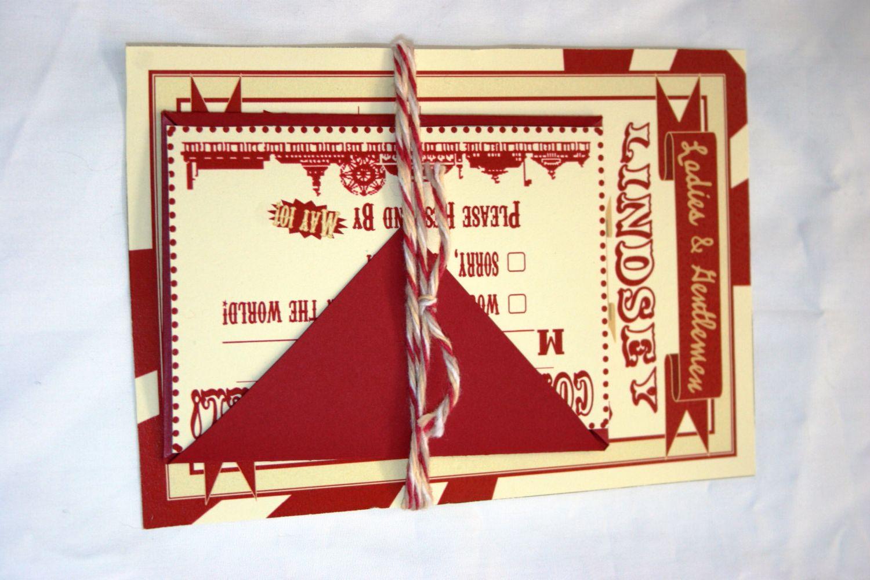 Vintage Carnival Wedding Invitation and RSVP Set of 10. $55.00, via ...