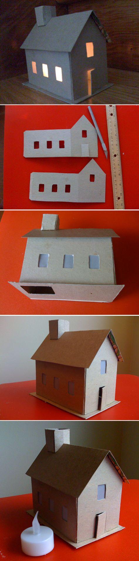 Fabriquer une maison en carton | Maison en carton, Maison de noel, Maisons en papier