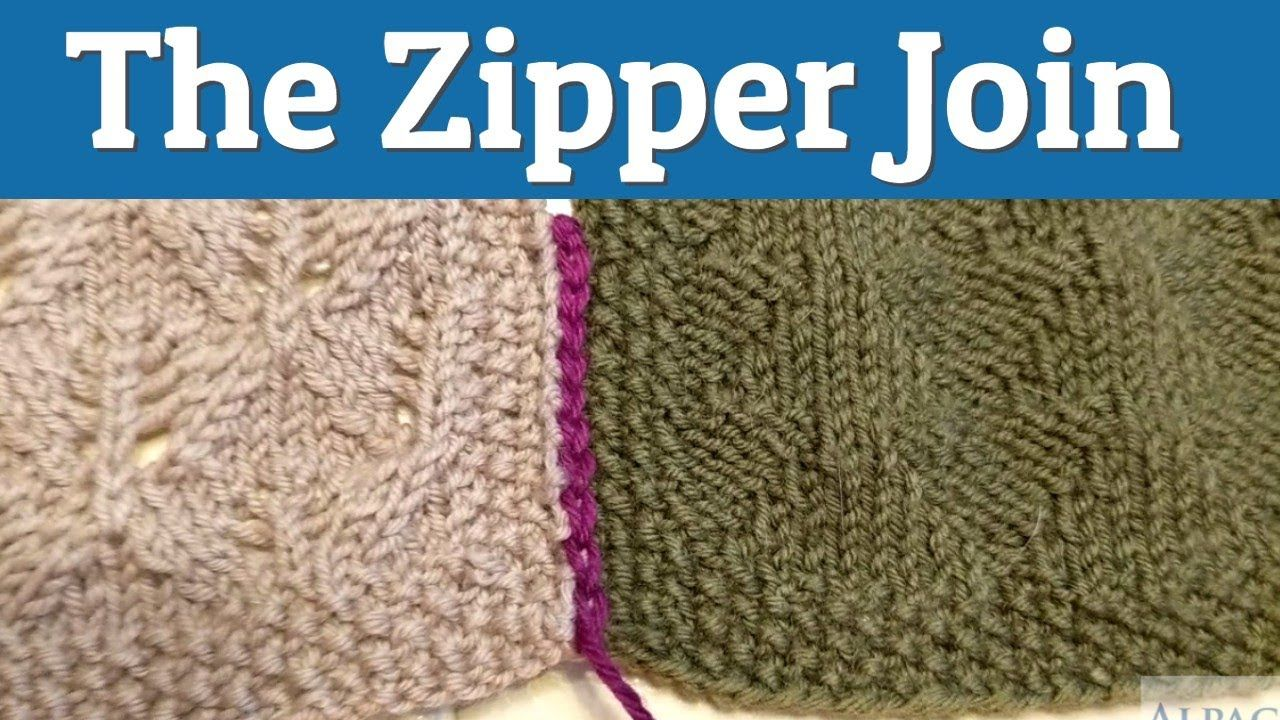 How to use the zipper join to seam squares of knitted