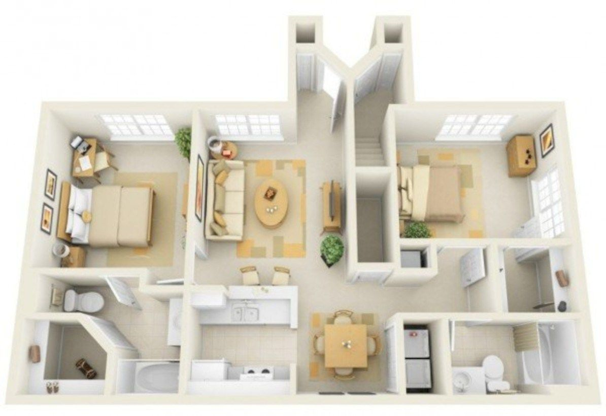 52 Creative Two Bedroom Apartment Plans Ideas Roundecor House Plans Floor Plan Design Apartment Plans