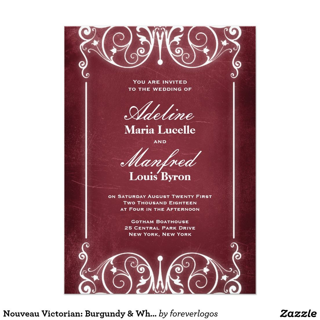 Nouveau Victorian: Burgundy & White Wedding Invitation | Pinterest ...