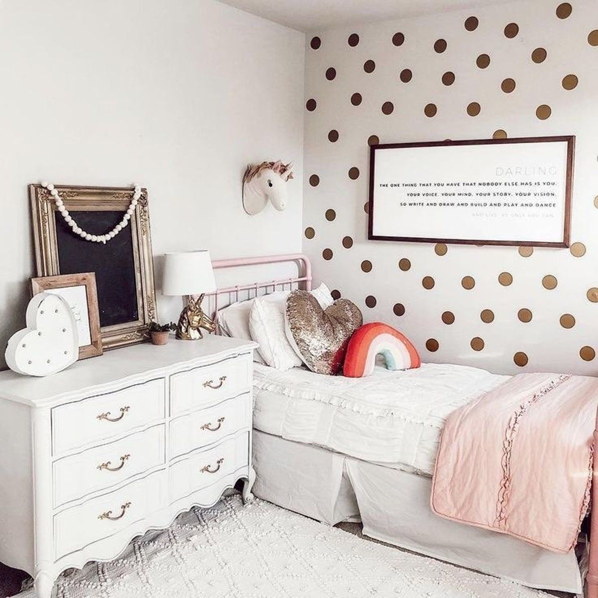 large gold polka dot wall decal stickers in 2020 wall on wall stickers for bedroom id=36179
