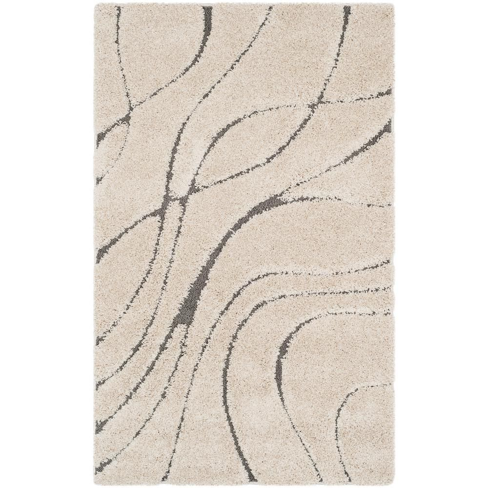 Safavieh Florida Shag Cream Beige 5 Ft X 8 Ft Area Rug Striped