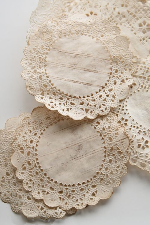 Coffee stained doily - I have no idea what I'd do with them or why I like them, but I do. Tea party decoration, maybe. Glue to can, jar, frame, art etc?