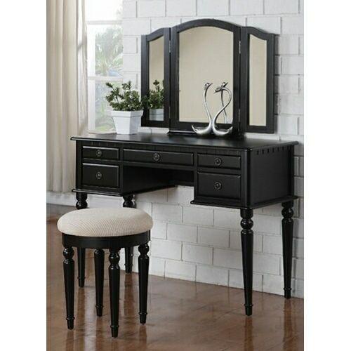 Makeup Vanity Plans       pc Black finish wood make up bedroom vanity set. Makeup Vanity Plans       pc Black finish wood make up bedroom