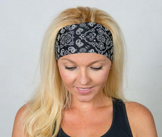 Yoga Headband-Black Workout Headband-Running Headband-Fitness Headband-Bandana  Headband-Fashion Head ce610d88ec0
