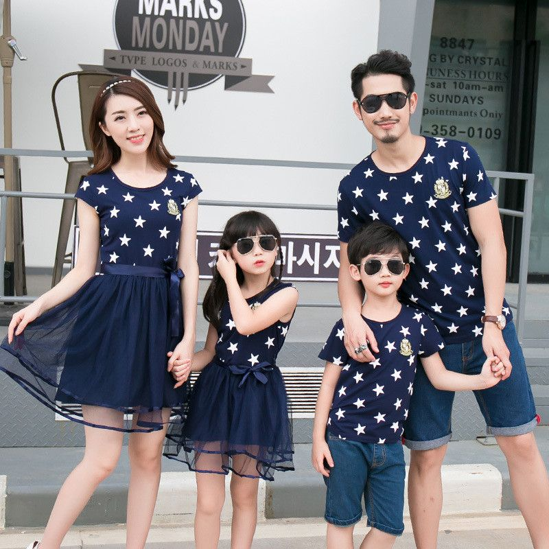 12c0a221cce7 Spring Family Matching Clothes Mother Daughter Dresses Matching Father Son  Outfits Cotton Print Stars Boys T