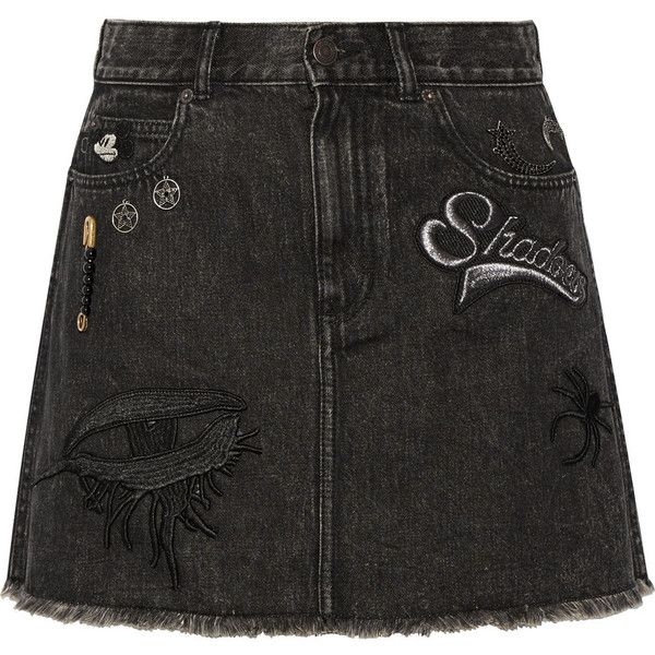 Marc Jacobs Embellished appliquéd denim mini skirt (1.645 BRL) ❤ liked on Polyvore featuring skirts, mini skirts, bottoms, saias, ripped denim skirt, button-front denim skirts, short mini skirts, distressed denim skirt and embellished mini skirt