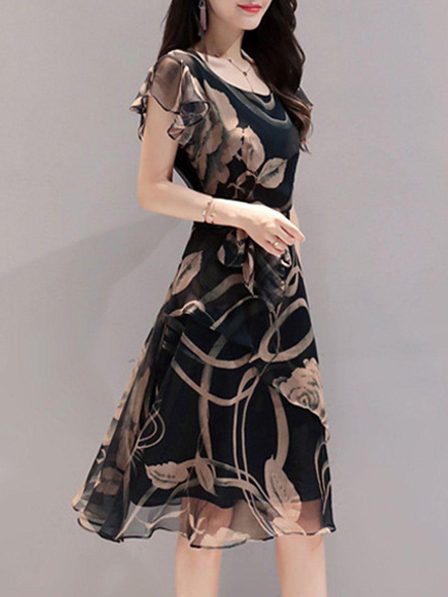 Summer Round Neck Printed Chiffon Skater Dress in 2019  455c2e93c