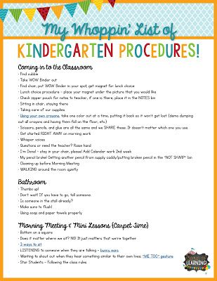 Circus of Learning My BIG List of Must-Do\u0027s for Kindergarten