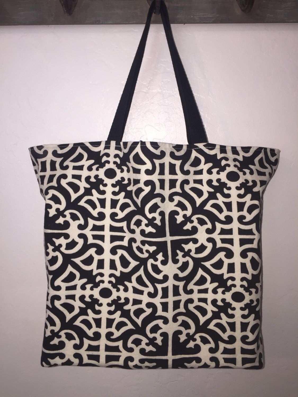Large canvas reversible, washable, reusable shopping tote, grocery ...