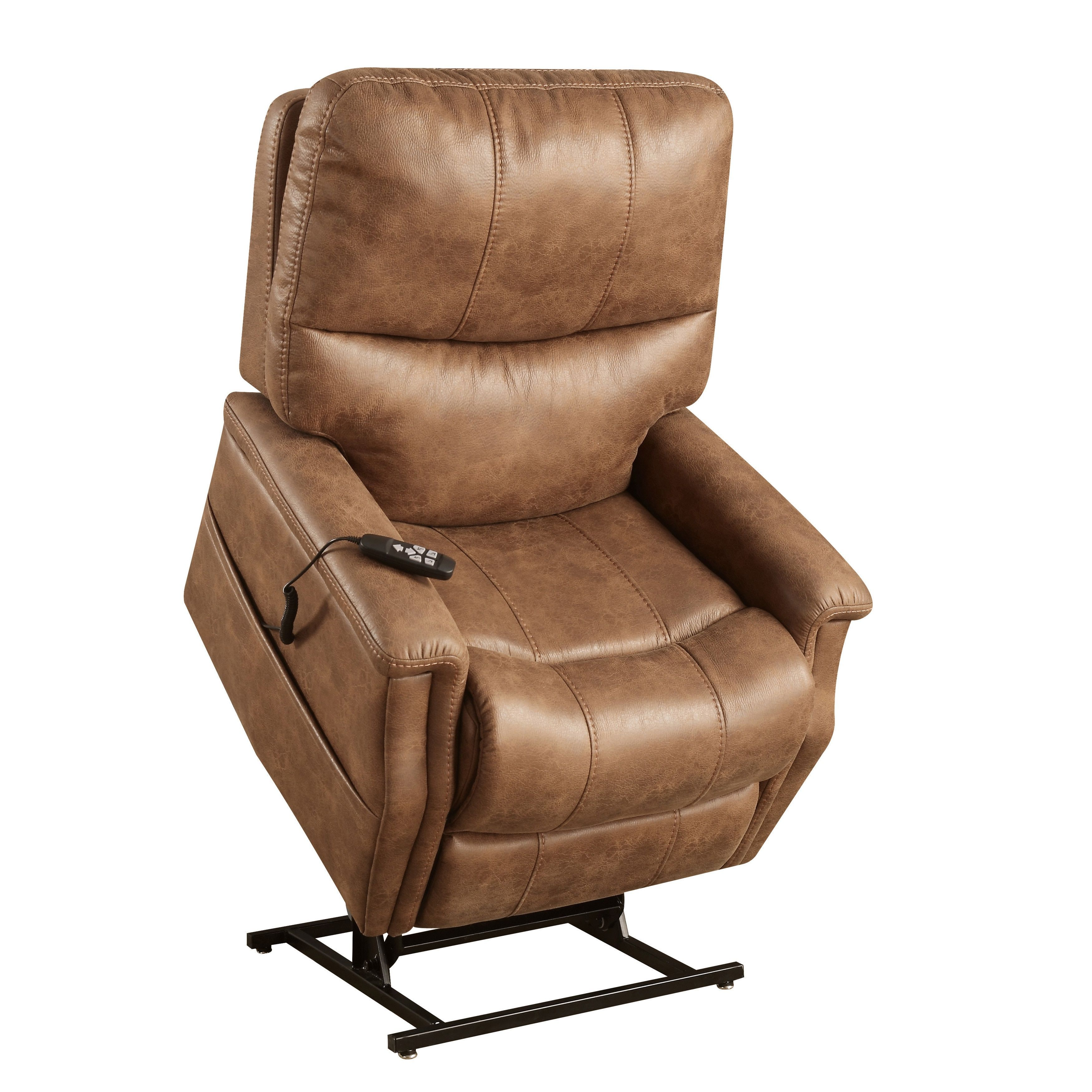 Distressed faux leather chair - Distressed Faux Leather Power Dual Motor Lift Chair Recliner