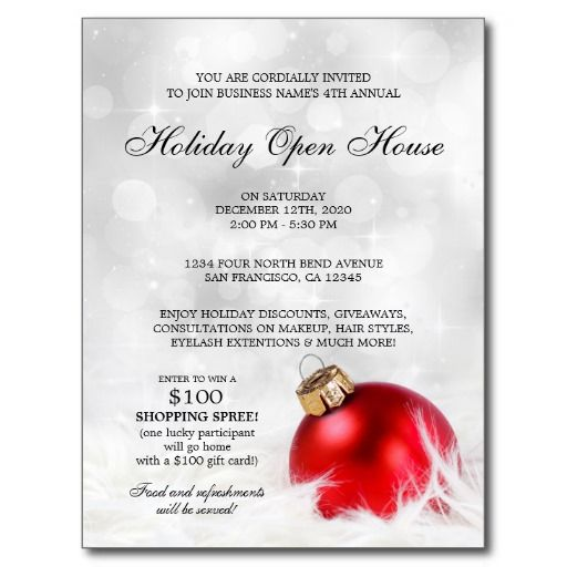 Business holiday open house postcard invitations holiday open business holiday open house postcard invitations wajeb Images