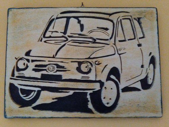 Immagine Fiat 500 Vintage Quadro Legno Traforo Di Trafart Su Etsy
