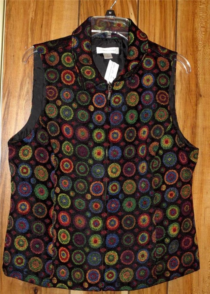 NWT Woman's Christopher & Banks Multicolor Circle Vest Size Medium New Zipper #ChristopherBanks Now $19.87