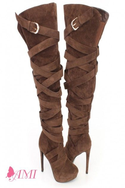Brown Wrap Around Strappy High Heel Boots Faux Suede 1
