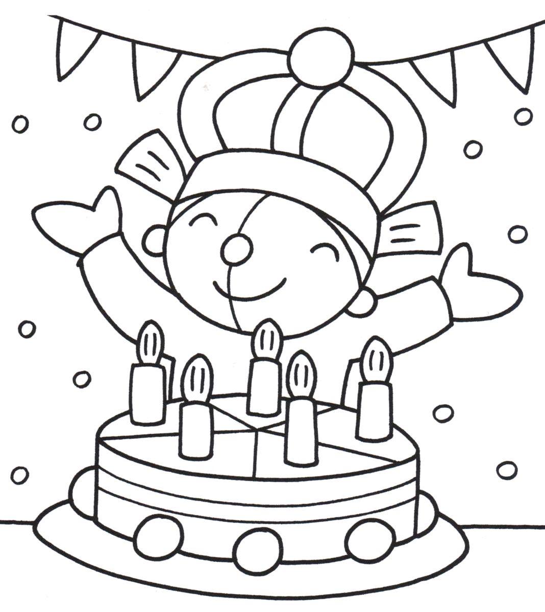 kleurplaat pompom verjaardag verjaardag knutselen met