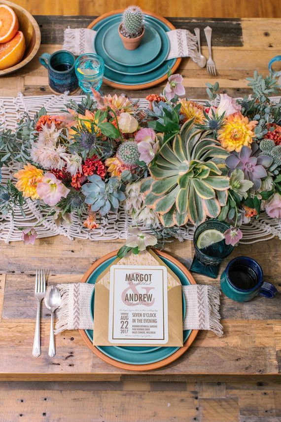 Boho tablescape with cacti succulents and lovely