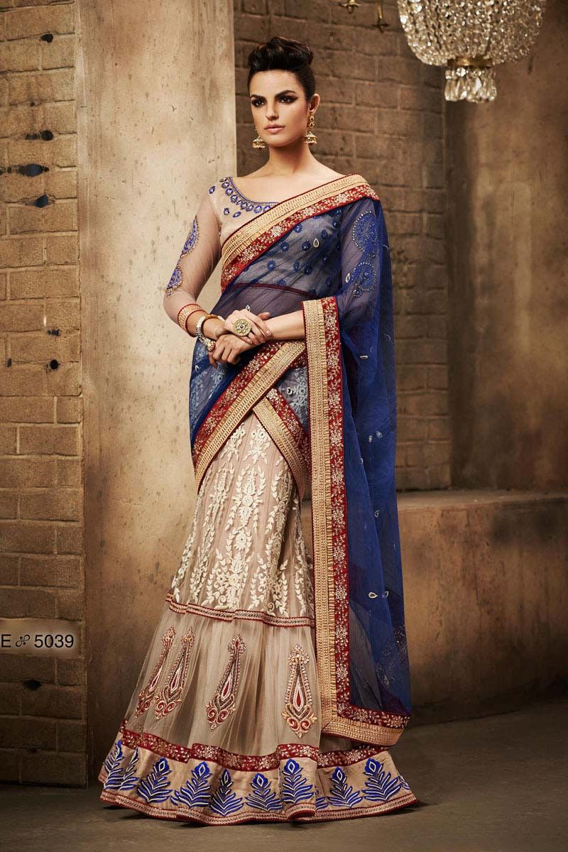 Lehenga saree for wedding bride cream net designer bridal lehenga for wedding saree  bridal lehenga