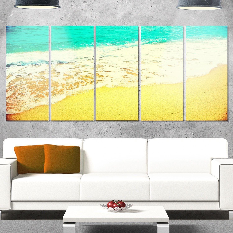 Designart \'Beautiful Sea Summer Background\' Seashore Glossy Metal ...
