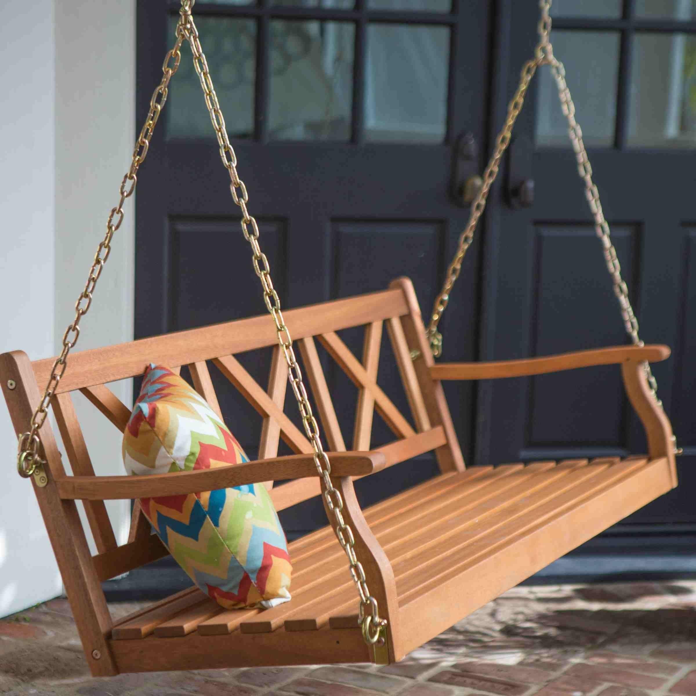 ftoutdoor garden backyard wood porch swings comes with free