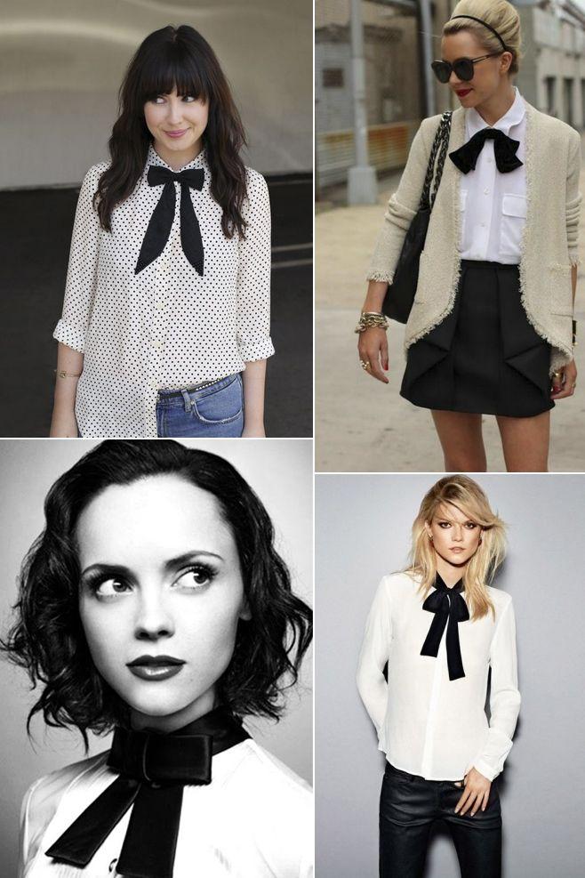 3fa3ff0d0 Blusa blanca con lazo negro | vestidor | Camisas con lazo, Blusas ...