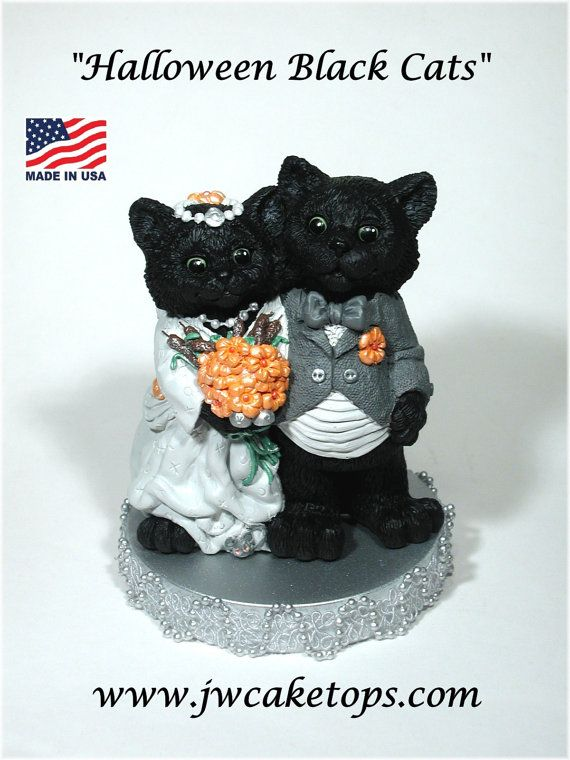 Halloween Black Cats Wedding Cake topper Bride by JWCaketops
