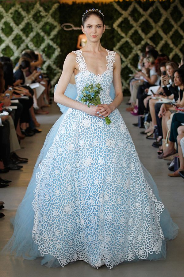 Oscar de la Renta Spring 2013 blue tulle sweetheart bridal gown ...