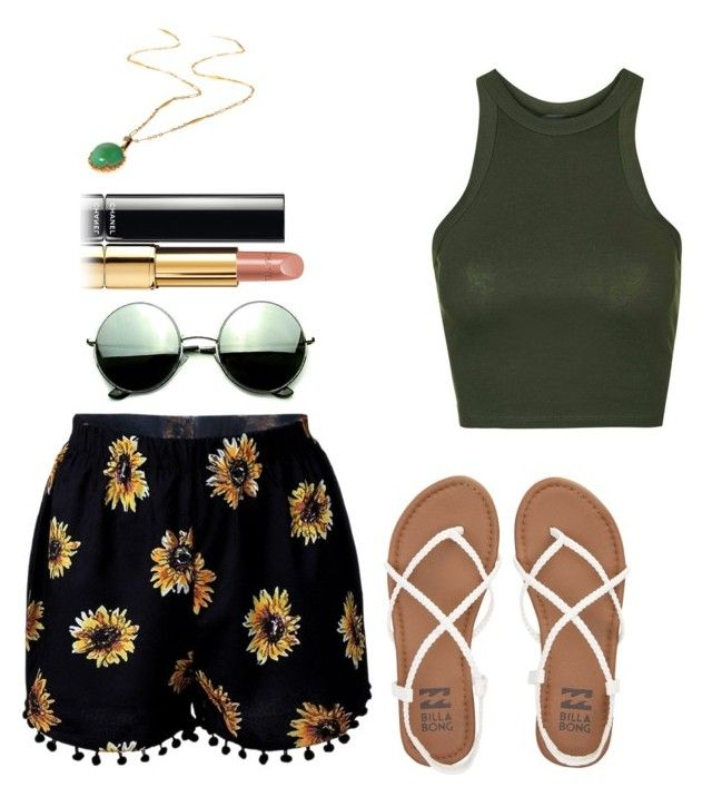 """collection #5"" by cupcakeloverlol61 ❤ liked on Polyvore featuring Topshop, Billabong, Revo and Chanel"