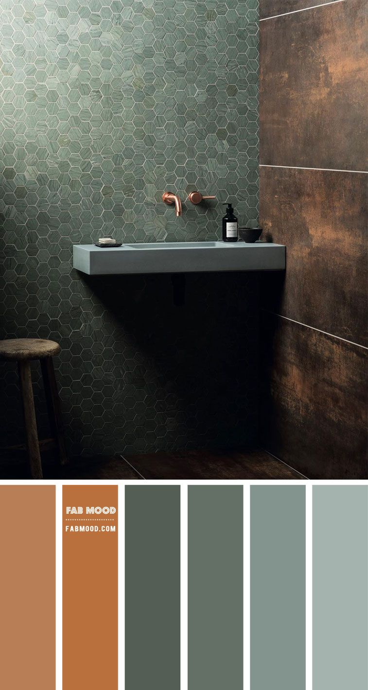 Copper and green color palette for bathroom