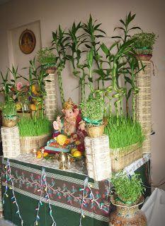 Green Backdrop Goddess Decor Ganesh Chaturthi Decoration Pooja