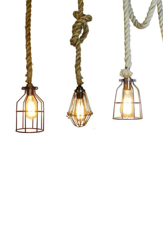 Rope Cage Pendant Lamp Rustic Light