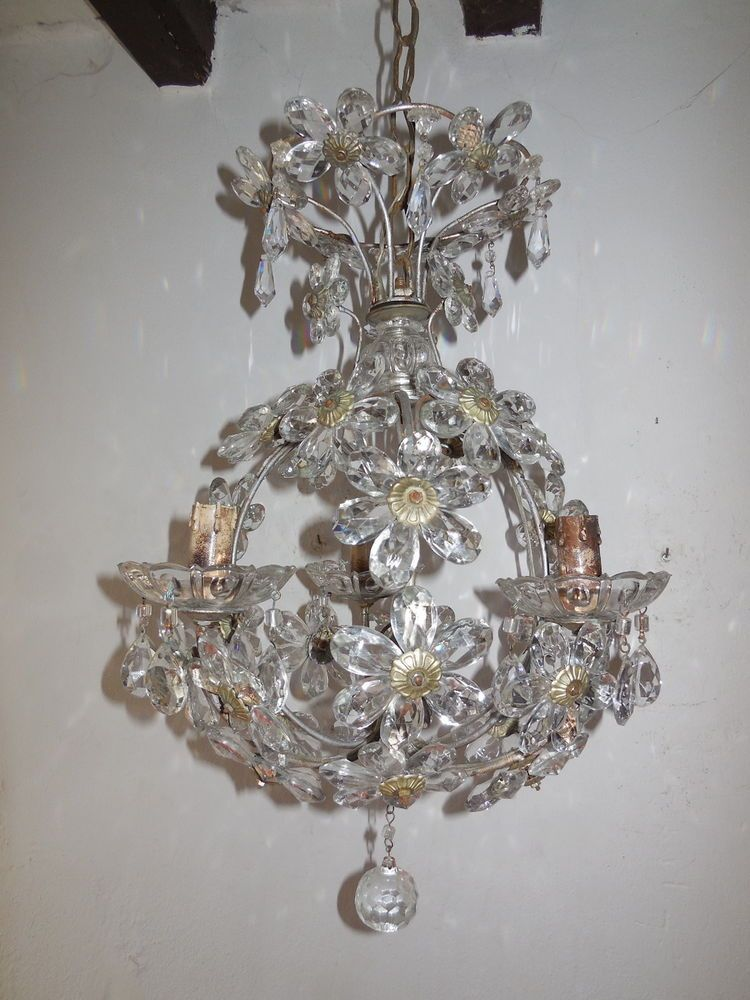 C 1920 French Maison Bagues Clear Crystal Flowers Ball Chandelier