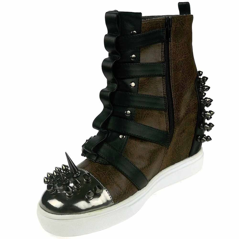 HADES Skyler Sneaker Boot Shoes Hidden Heel Womens Studs Spikes Low Boots Style #Hades #Sneakers