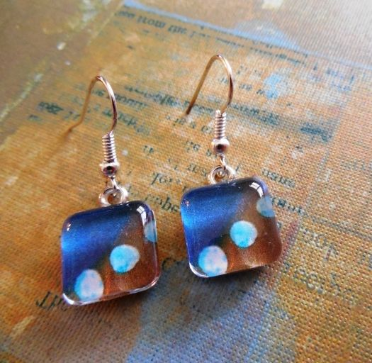 Moon Abstract Earrings Square Petite Glass Art Print Dangles