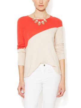 Gilt Groupe - Cashmere Diagonal Color-blocked Sweater by Elorie