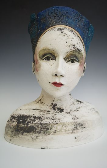 Sally MacDonell_contemporary ceramic figures_ Faces_ Bath