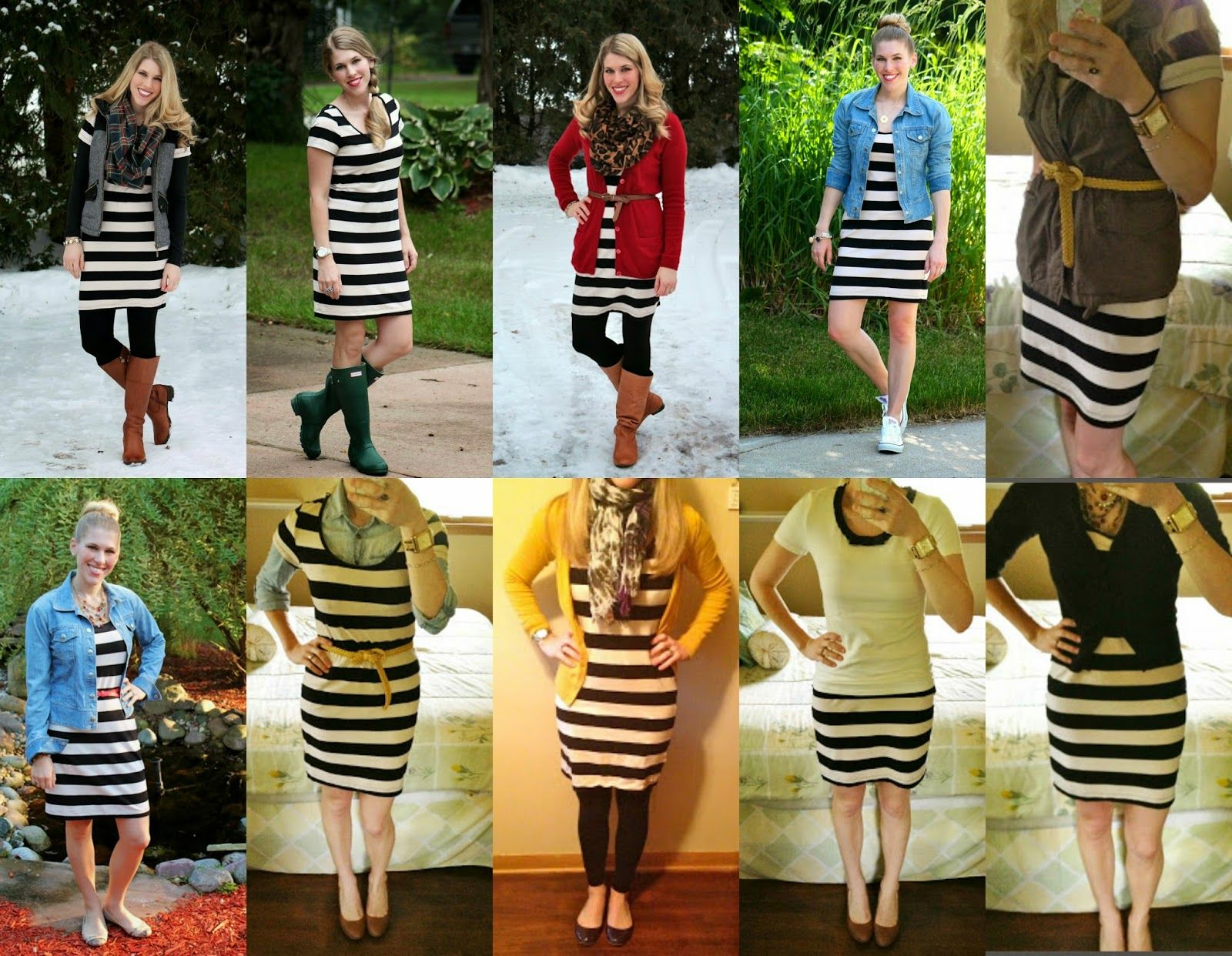 c542b7b7b6 10 ways to wear black and white striped dress | Fashion Blogs ...